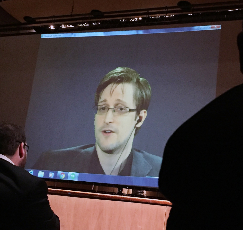 Former NSA contractor Edward Snowden will speak Saturday by video link at the Free Staters' forum in N.H. the live video conference Wednesday night with Snowden, according to the Baltimore Sun. (AP Photo/Juliet Linderman)