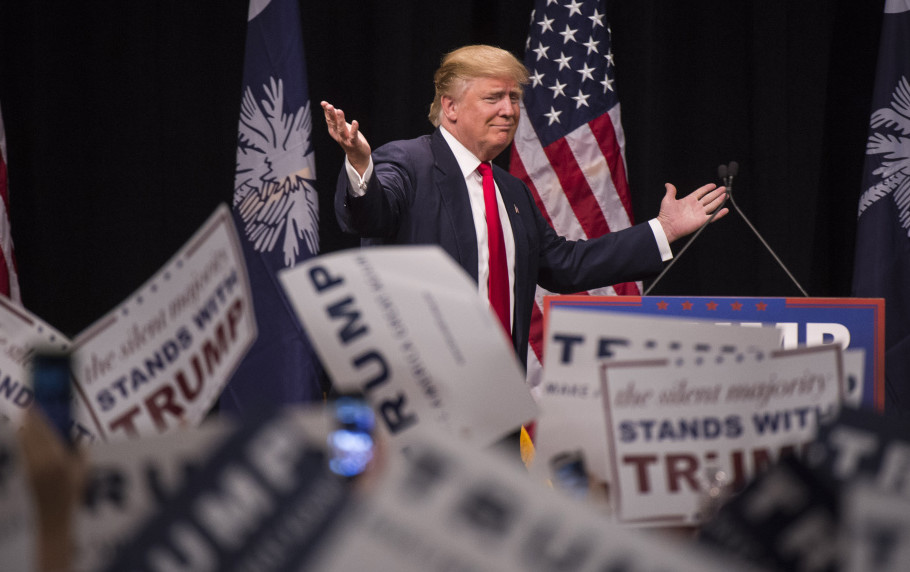 Donald Trump takes the stage at a rally in Myrtle Beach, South Carolina, a state where the Republican primary has a history of identifying the eventual nominee. A big win there on Saturday could stamp Trump as the clear front-runner. Washington Post photo by Jabin Botsford