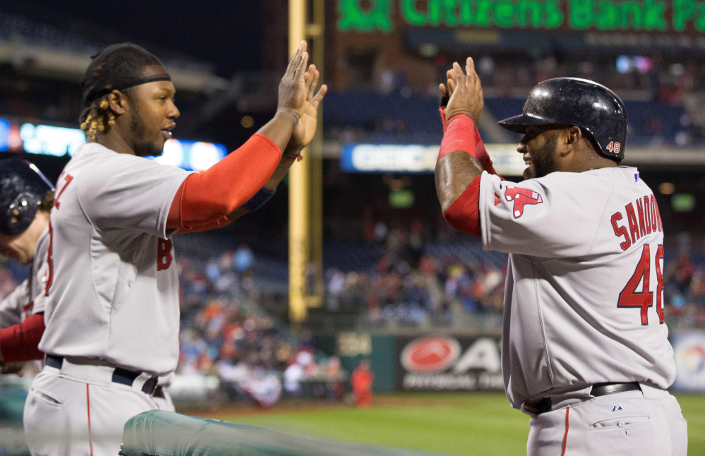 One of the biggest questions for the Red Sox this season will be how Hanley Ramirez, left, and Pablo Sandoval recover from subpar seasons. On top of that, Ramirez is moving to yet another new position as the everyday first baseman. Together they are still owed more than $145 million from the team.
