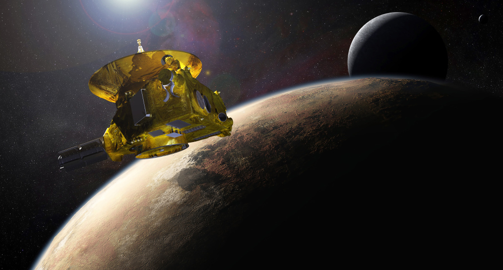 An artist's impression of NASA's New Horizons spacecraft encountering Pluto and its largest moon, Charon, is seen in this NASA image from last July.
