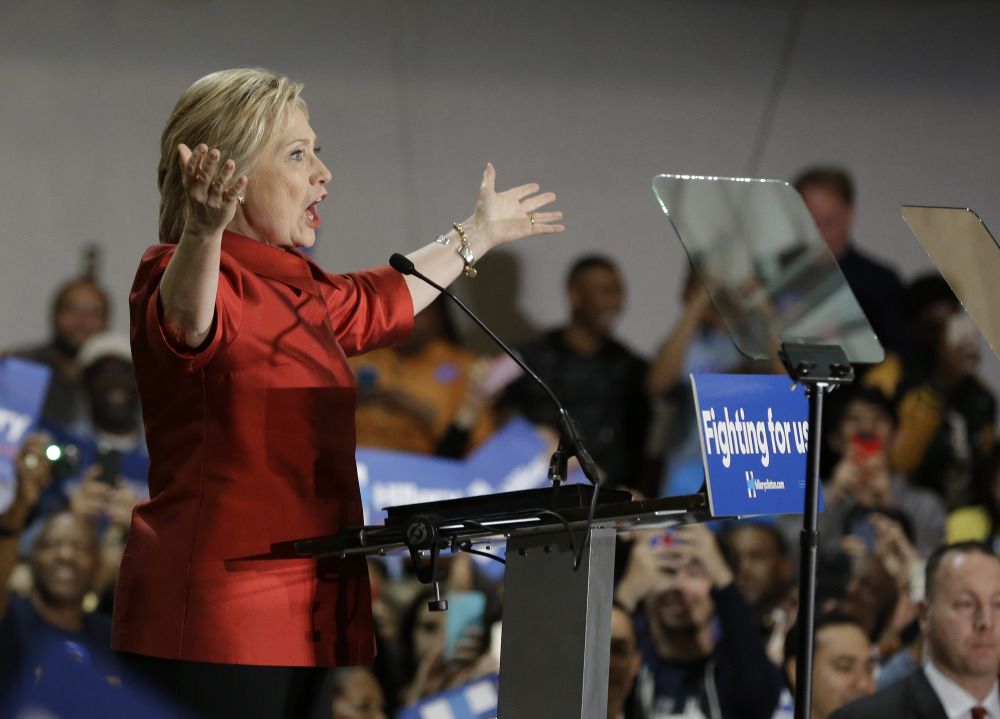 Democratic presidential candidate Hillary Clinton speaks at a rally at Texas Southern University Saturday in Houston. (
