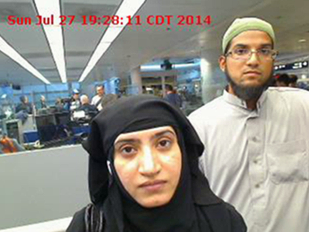 A judge ordered Apple to help U.S. officials hack into the work iPhone of Syed Farook, right, who with his wife, Tashfeen Malik, center, killed 14 people in California last year.