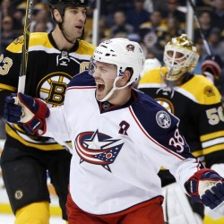 The Blue Jackets' Boone Jenner celebrates his first-period goal Monday night in Boston. Columbus went on to a 6-4 win as Jenner scored two goals.