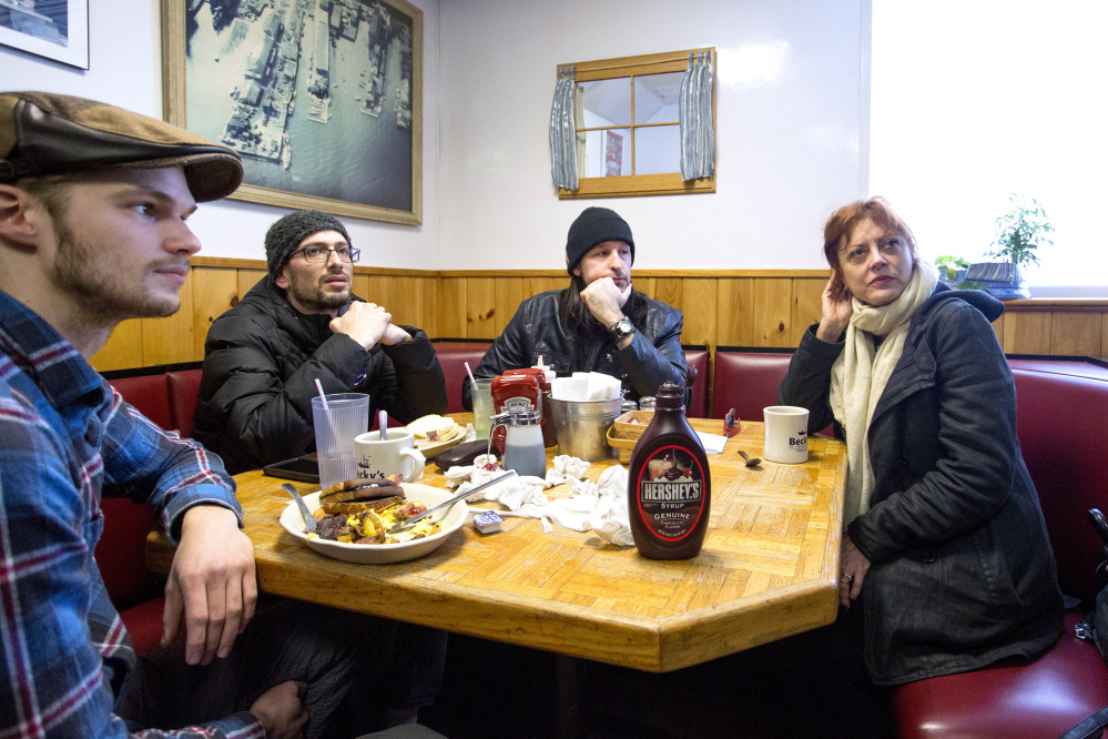 Actress Susan Sarandon sits with Mike Maurice, 24, of Biddeford, Mat Zimmerman, 42, of Portland and Sean Slaughter, 44, of Cape Elizabeth during a visit to Becky's Diner in Portland on Tuesday as she made a handful of stops around Maine to endorse Democratic presidential candidate Bernie Sanders.