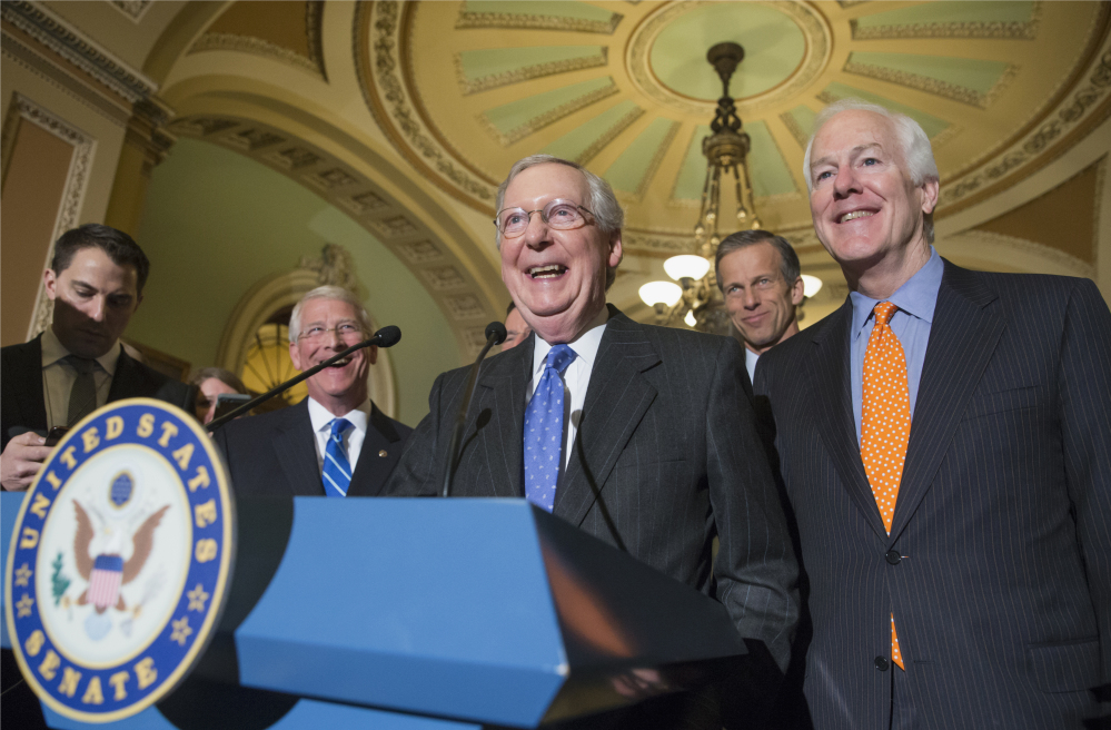 Senate Majority Leader Mitch McConnell of Ky., center, joined by, from second for left are, Sen. Roger Wicker, R-Miss., Sen. John Thune, R-S.D., and Senate Majority Whip John Cornyn of Texas, announced Tuesday that nearly all Republicans have rallied behind the call to prevent President Obama from appointing a Supreme Court justice.