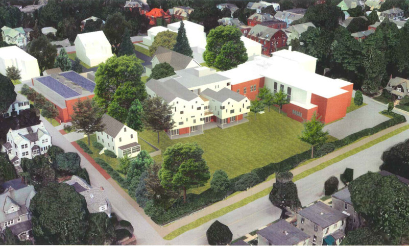 An artist's rendering shows what the Waynflete School campus could look like after a $12 million renovation project.