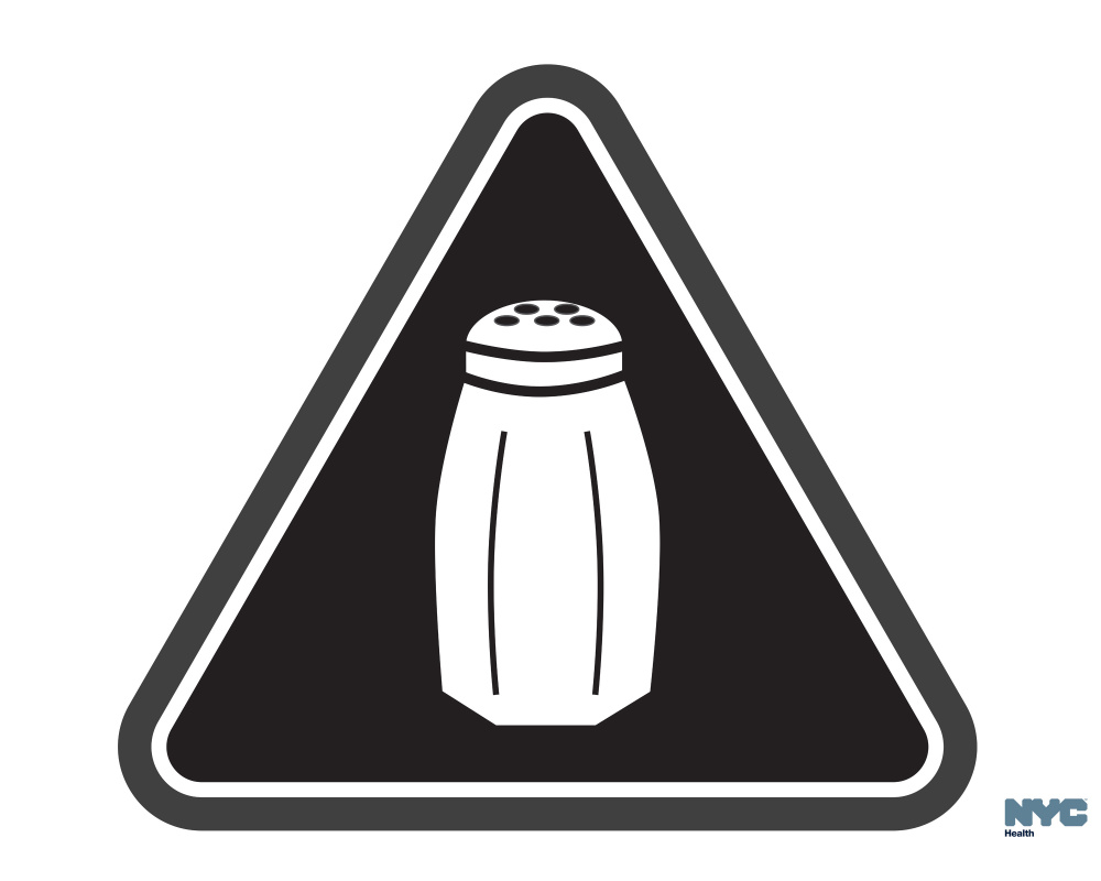 Icon of a salt shaker serves as a graphic warning to NYC consumers of high salt content in foods.