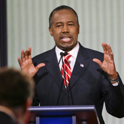 Republican presidential candidate and retired neurosurgeon Ben Carson answers a question during a Republican presidential primary debate, on  Jan. 28. His senior staff, which was restructured in late December after several advisers resigned, will not change, the campaign says. The Associated Press