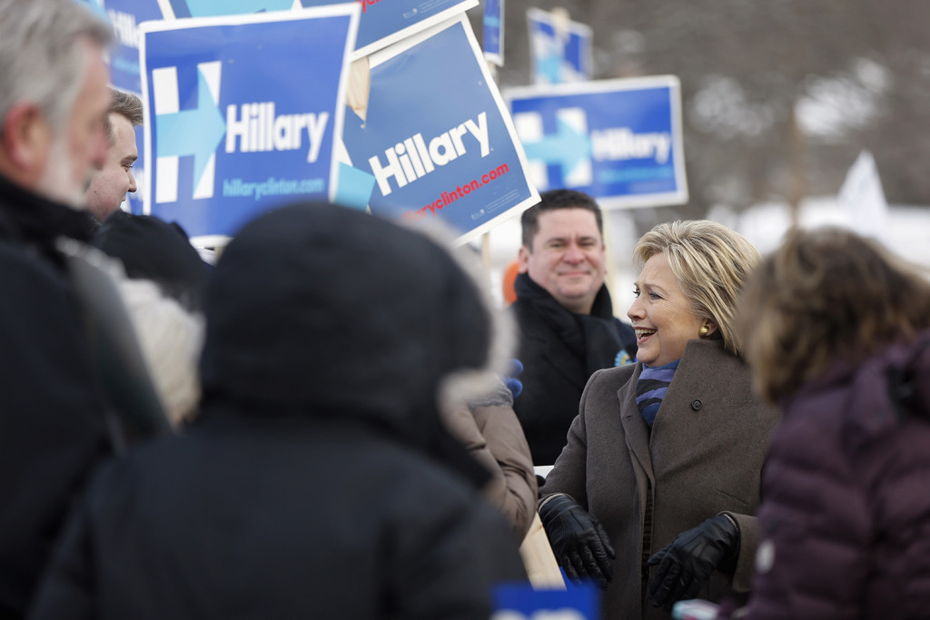 Democratic presidential candidate Hillary Clinton campaigns outside a polling place during the first-in-the-nation presidential primary, Tuesday in Nashua, N.H. The Associated Press