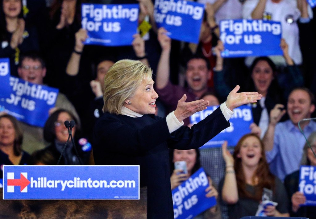 Hillary Clinton acknowledges supporters at her campaign rally Tuesday in Hooksett, N.H.