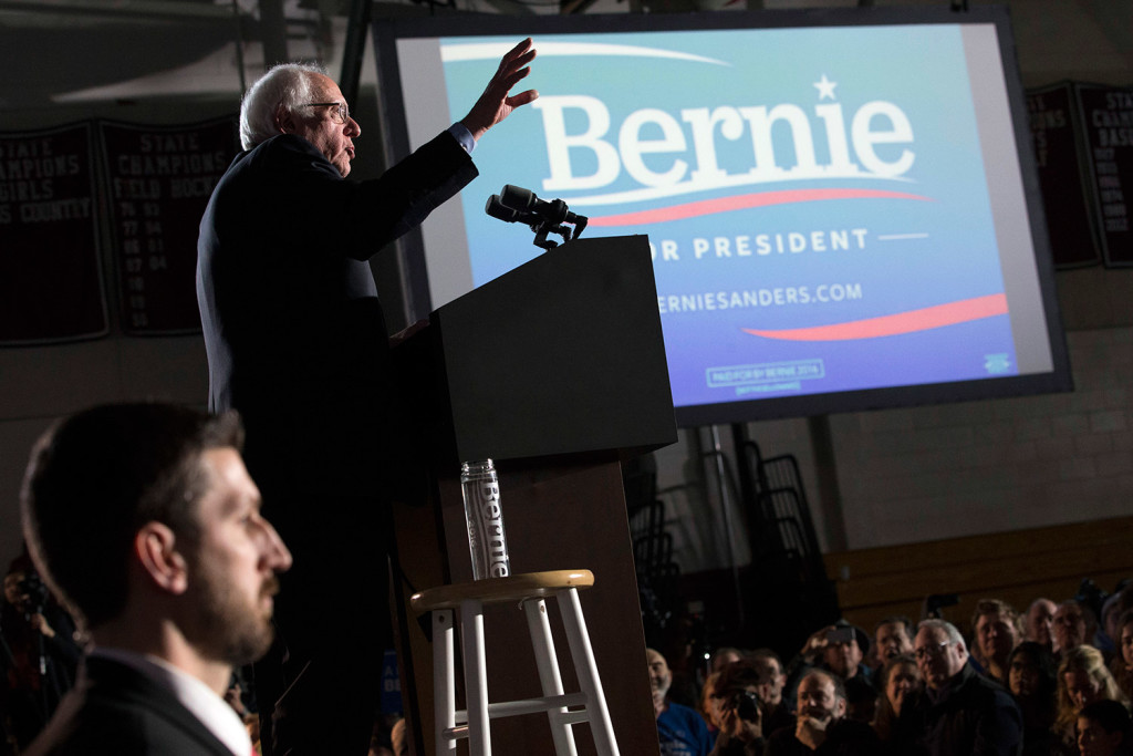 Bernie Sanders speaks at Concord High School on Tuesday night after winning New Hampshire's Democratic primary.