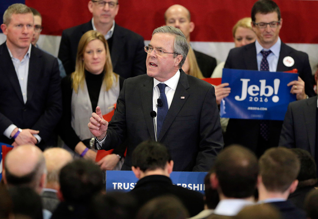 Republican Jeb Bush, who was fighting for third place in the Republican primary, speaks during a primary night rally in Manchester, N.H.
