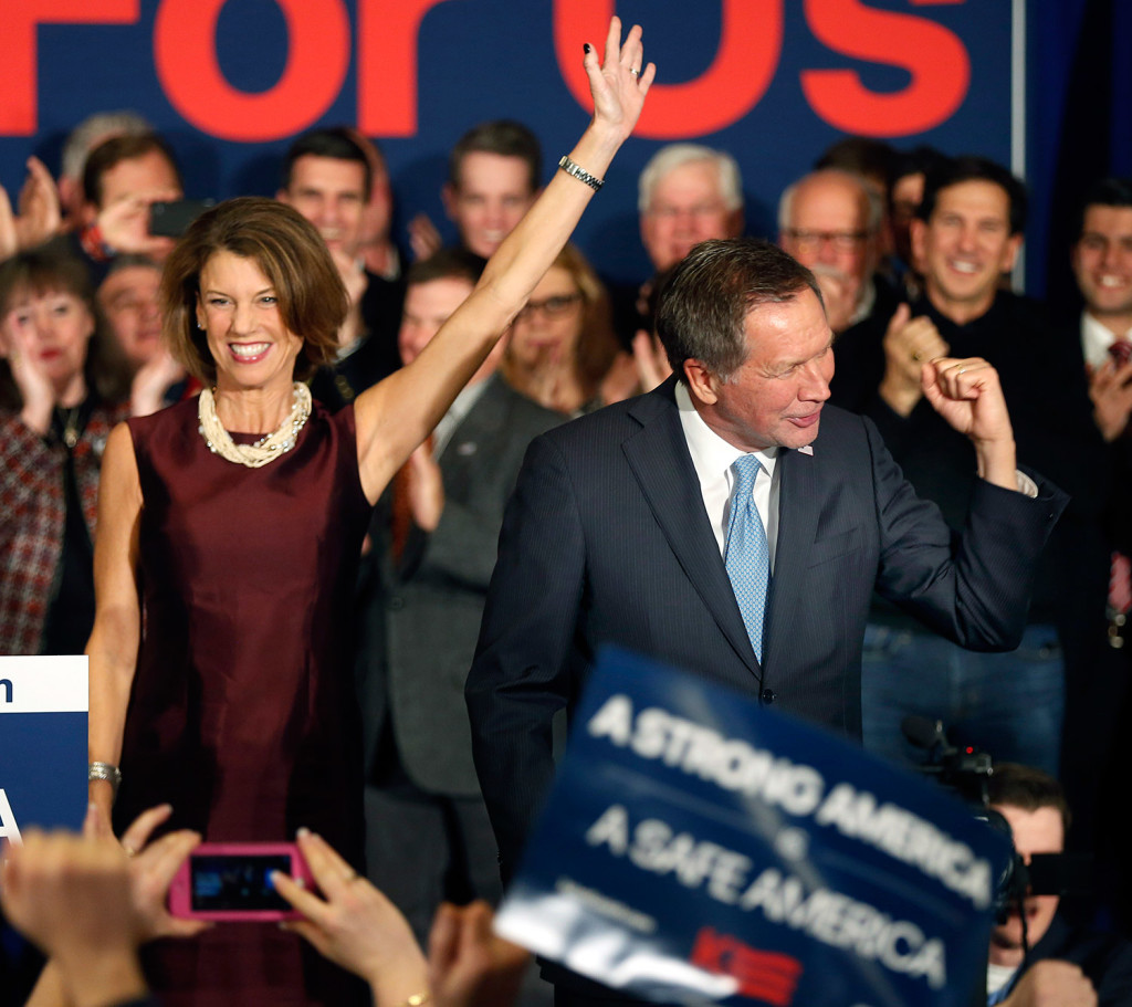 Republican candidate John Kasich and his wife, Karen, arrive to a cheering crowd Tuesday in Concord, N.H. Kasich finished second in the Republican primary.