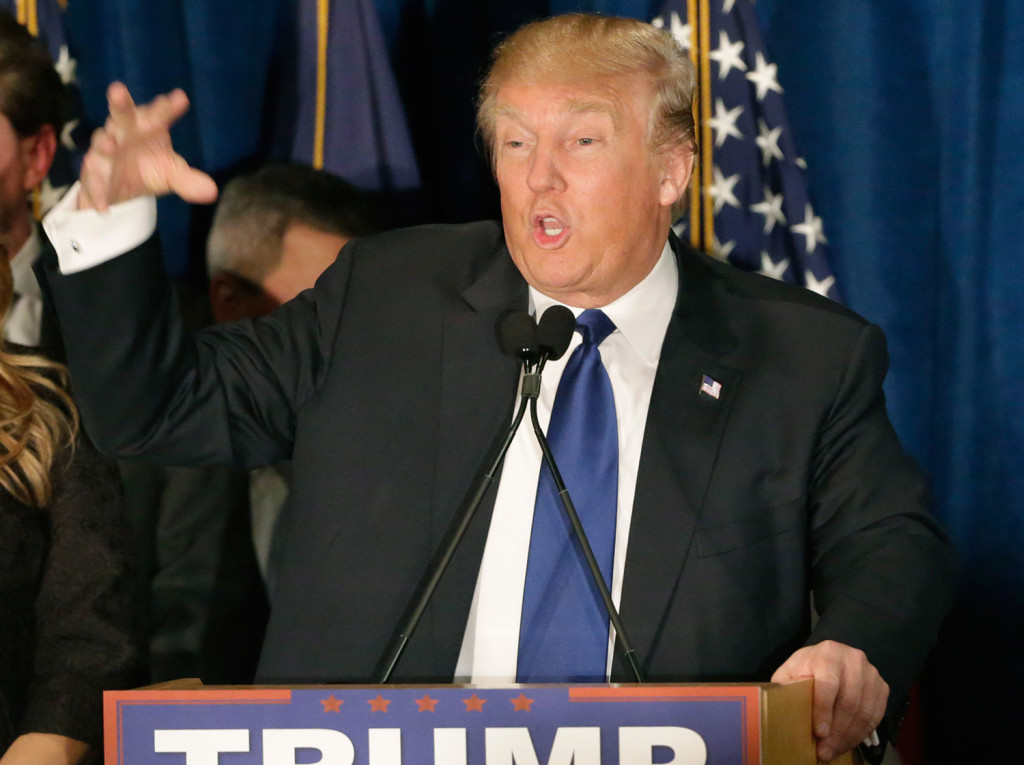 Donald Trump speaks to supporters at his primary night rally in Manchester.