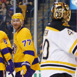 Los Angeles pelted Boston and goalie Tuukka Rask with 57 shots Tuesday night during the Kings' 9-2 win.