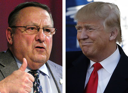 """Gov. Paul LePage, who supported New Jersey Gov. Chris Christie until Christie dropped out of the presidential race this month, said Friday in a radio interview that he now backs Donald Trump. LePage had said in a radio interview Feb. 9 that """"I'm not a big fan of Donald Trump."""""""