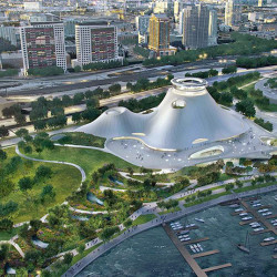 An artist's rendering released Sept. 17, 2015, shows the proposed $400 million Lucas Museum of Narrative Art in Chicago. Image via AP