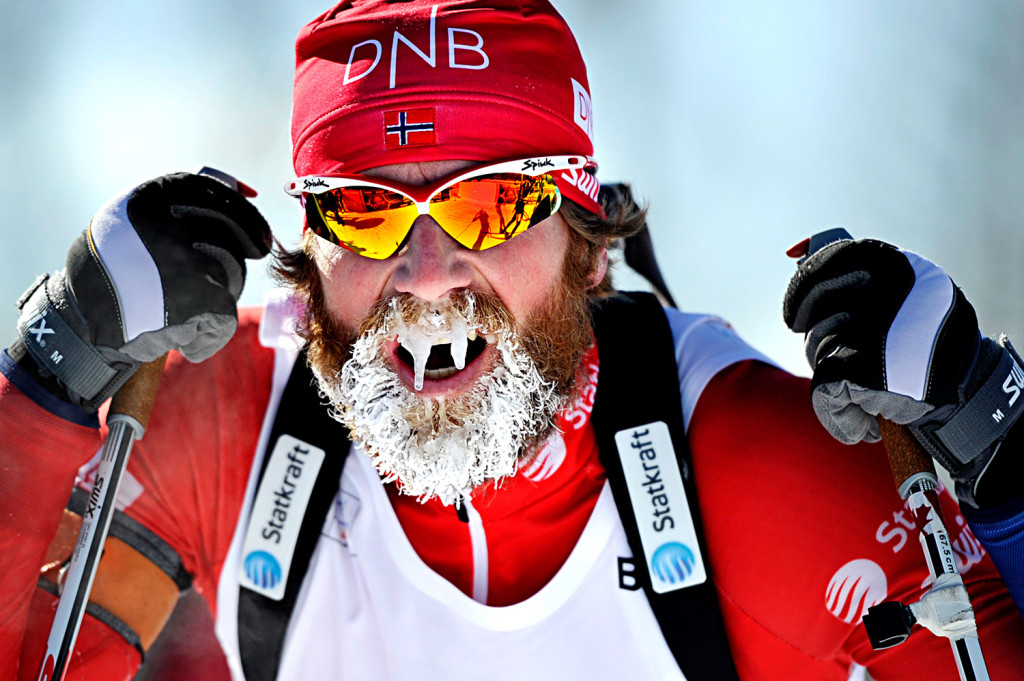 Icicles adorn the beard of Alexander Os of Norway as he takes a breather after competing in the men's 12.5-kilometer pursuit at the BMW IBU World Cup Biathlon at the Nordic Heritage Center in Presque Isle on Friday.