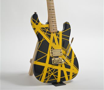 A yellow-and-black Charvel guitar, customized for Eddie Van Halen in the 1980s could bring $60,000 to $80,000 when it goes up for sale on Feb. 27 in New York.  The Associated Press