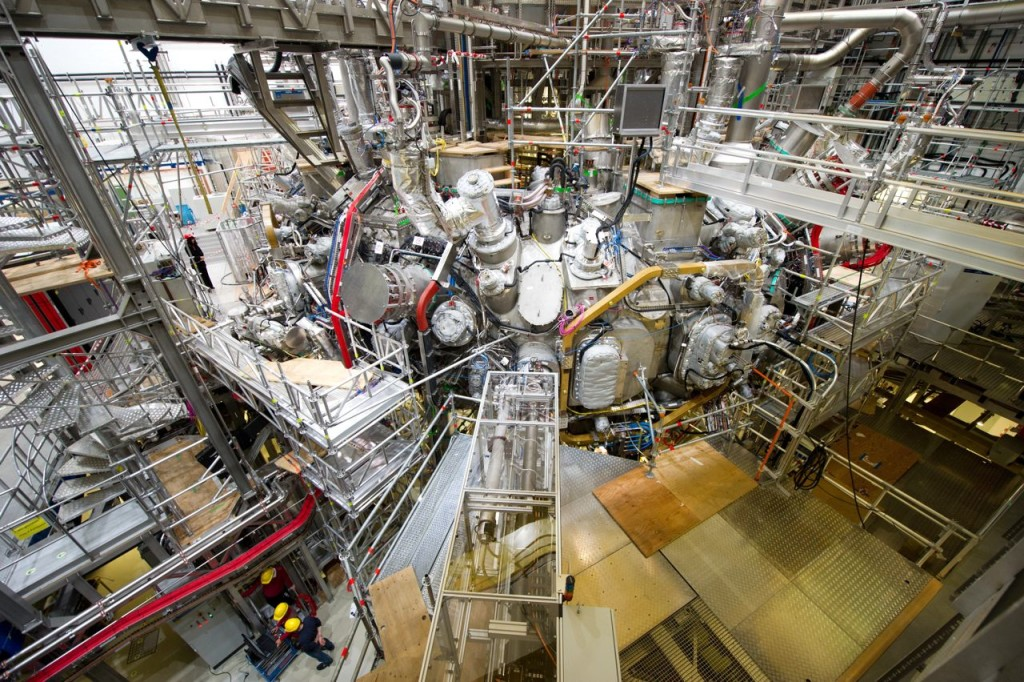 Scientists at the  Max Planck Institute for Plasma Physics in Greifswald, Germany, flipped the switch Wednesday on an experiment that could take them a step closer to the goal of generating clean and cheap nuclear power. The test will show whether the fusion device can handle hydrogen, which would be the fuel in future fusion reactors. Stefan Sauer/dpa via AP
