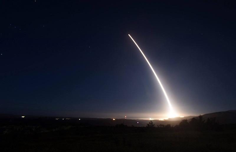 An unarmed Minuteman III intercontinental ballistic missile launches during an operational test at Vandenberg Air Force Base on Saturday.