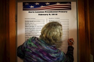 An official labels the number of votes candidates received in New Hampshire's primary in Hart's Location. The community of Hart's Location is one of three tiny New Hampshire towns that cast the state's first votes of the primary, as the clock strikes midnight.