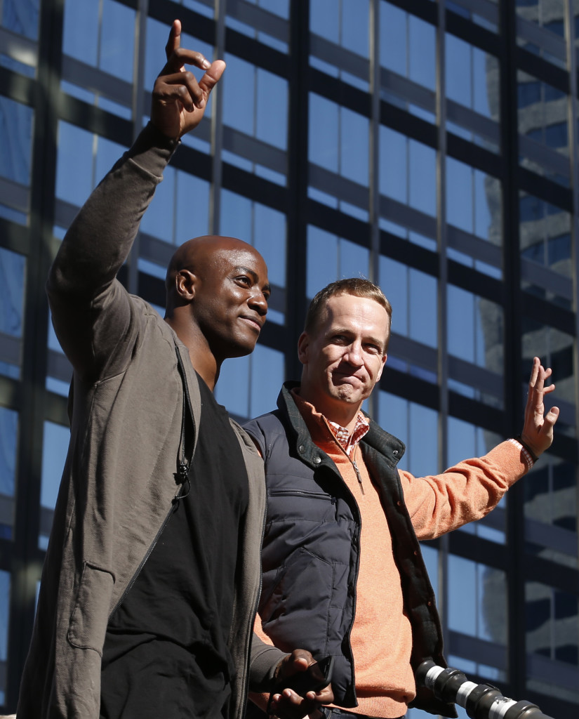 Will Broncos quarterback Peyton Manning team up with defensive end DeMarcus Ware again next season for another Super Bowl run? The players weren't talking about the future during the celebration Tuesday.