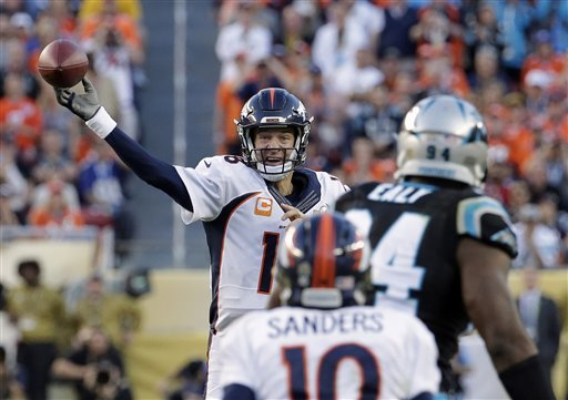 Denver Broncos Peyton Manning (18) throws during the first half of Super Bowl 50 on Sunday in Santa Clara, Calif.  The Associated Press