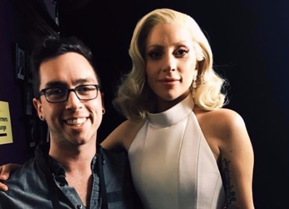Robbie Woodsum with Lady Gaga after her performance at the Oscar ceremony Sunday night. Photo courtesy WCSH