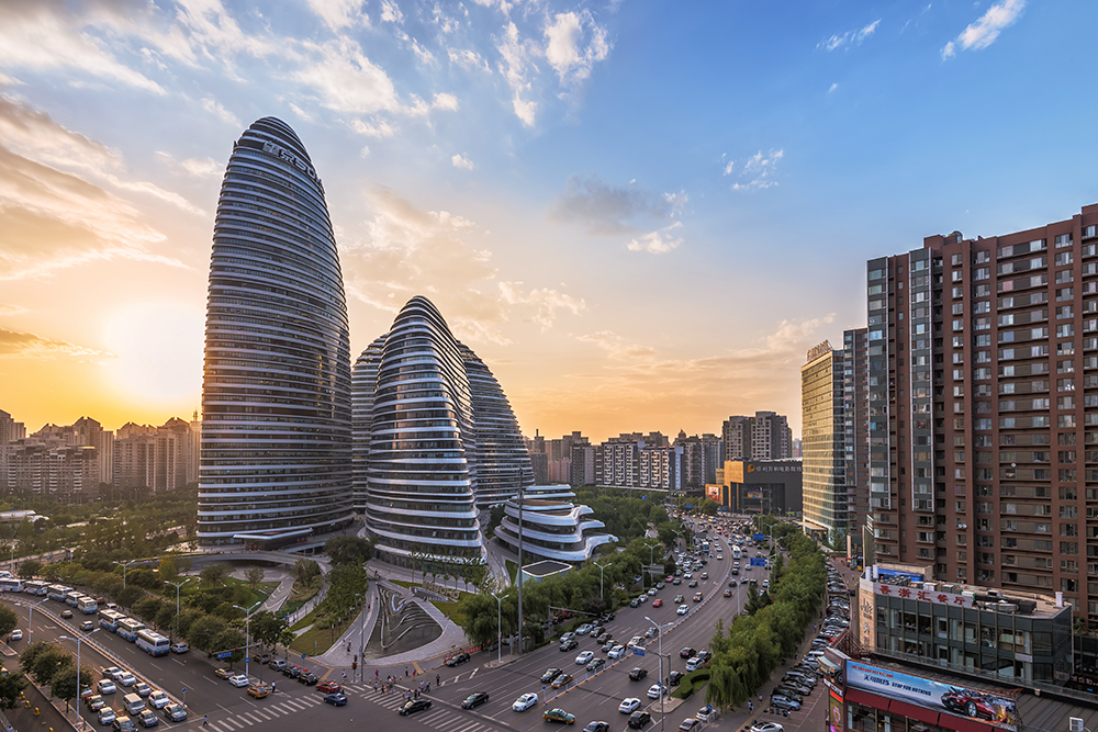 WangJing Soho, which opened in September 2014, has already become a landmark in the Beijing cityscape. The buildings' developer says their designe is meant to evoke the image of Koi, a traditional Chinese symbol of wealth, luck, health and happiness. Shutterstock image