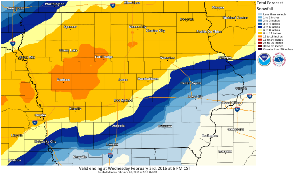 Predicted snow in Iowa early this week