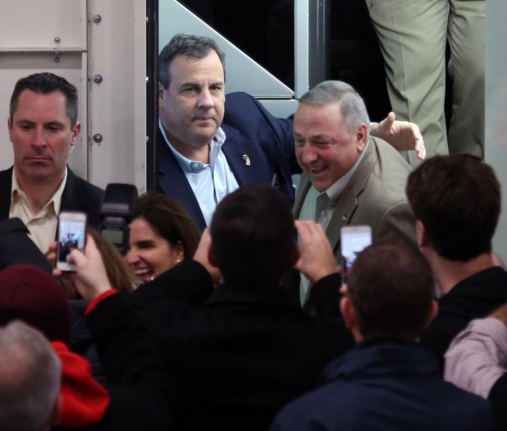 New Jersey Gov. Chris Christie and Maine Gov. Paul LePage appeared at a town hall meeting in New Hampshire in September where they joked and campaigned together.