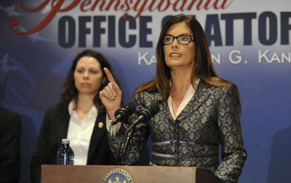 Pennsylvania Attorney General Kathleen Kane speaks about the 147-page report on sexual abuse in the Altoona-Johnstown Diocese was made public at a news conference, Tuesday, March 1, 2015 in Altoona, Pa. Kane says none of the alleged criminal acts can be prosecuted because some abusers have died, statutes of limitations have run their course and victims are too traumatized to testify. (Todd Berkey/The Tribune-Democrat via AP) MANDATORY CREDIT