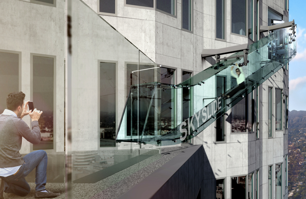 An artist's rendering shows a 45-foot-long glass slide 1,000 feet above the ground off the side of the U.S. Bank Tower in downtown Los Angeles.