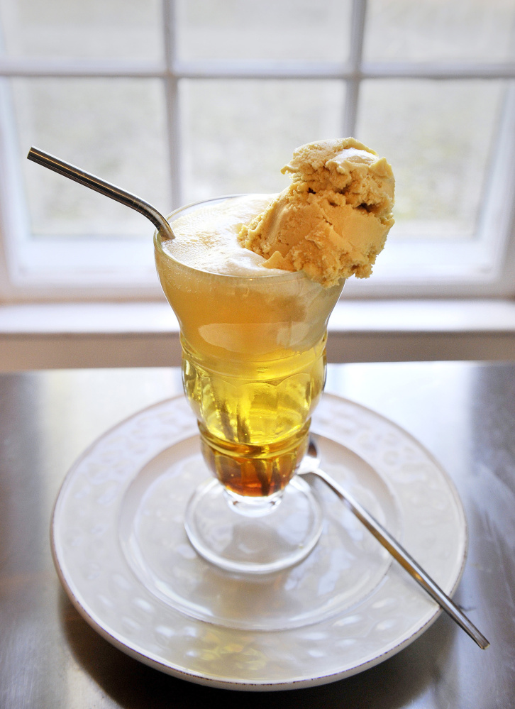 Christine Burns Rudalevige's Maple Ice Cream Soda in her Brunswick kitchen.