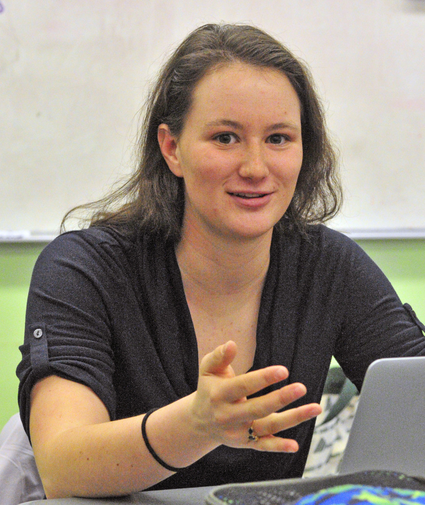 Becki Bryant answers questions about academic decathlon during an interview Wednesday at Monmouth Academy.