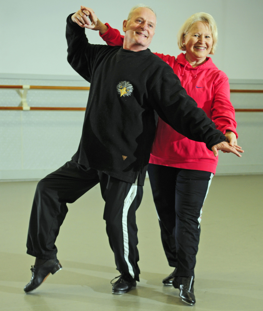 "Alphonse ""Alphy"" Poulin and Keltie Collins pose at the Kennebec Dance Centre in Augusta, where they are rehearsing for upcoming performances in Chizzle Wizzle."