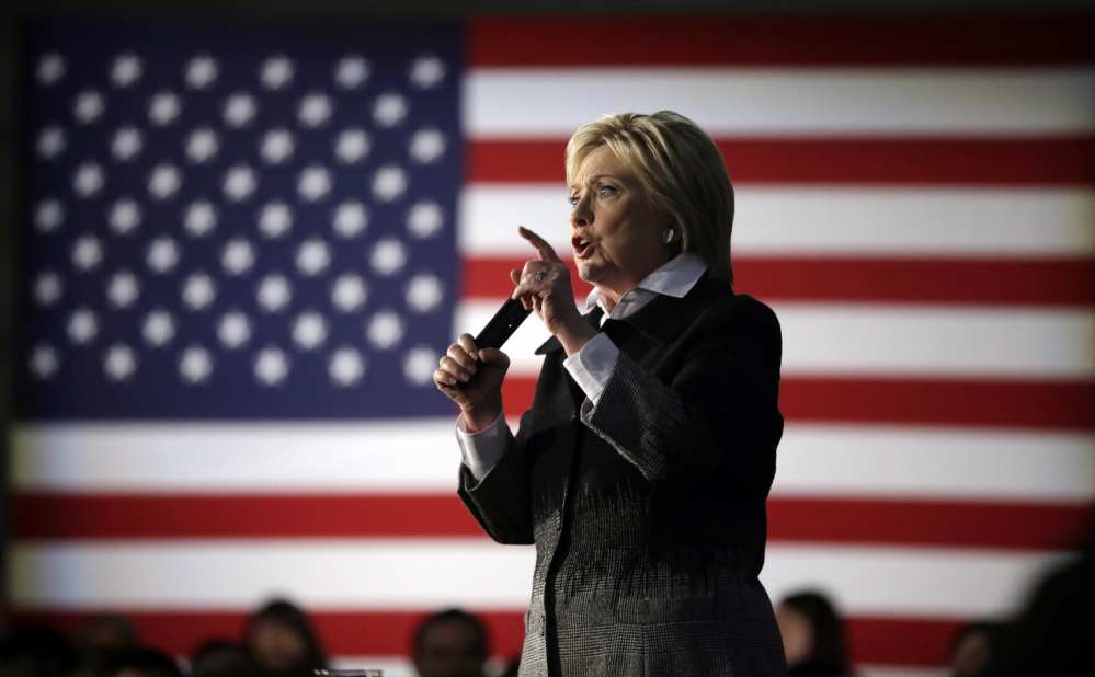 Democratic presidential candidate Hillary Clinton speaks during a rally at the Charles H. Wright Museum of African American History, Monday in Detroit, Mich.