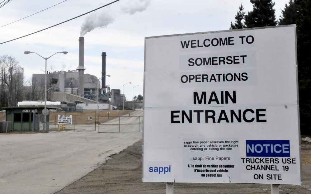 The entrance to the Sappi mill in Skowhegan is shown Wednesday. Skowhegan selectmen agreed this week to go with a bid price of $150,000, plus $395 per hour, for the town's appraisal of the paper mill.