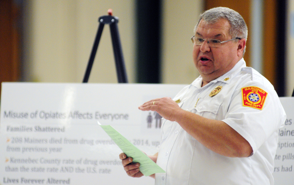 Gardiner Fire Chief Al Nelson, who said call volume in the city is increasing, speaks during a forum in November 2015 at Gardiner Regional Middle School in Gardiner.