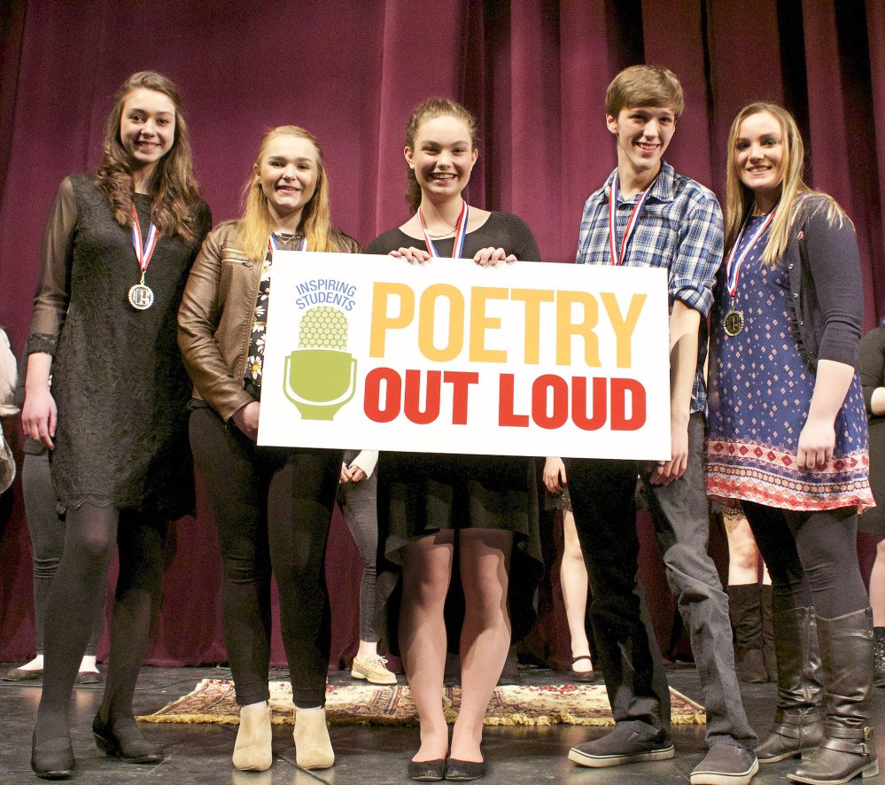Northern region state finalists, left to right: Lydia Caron, Bangor High School; Morgan Steward, Carrabec High School; Danielle Barrett, Hampden Academy; Owen Sinclair, Rangeley Lakes Regional School; Anna Bucklin, Searsport District High School.