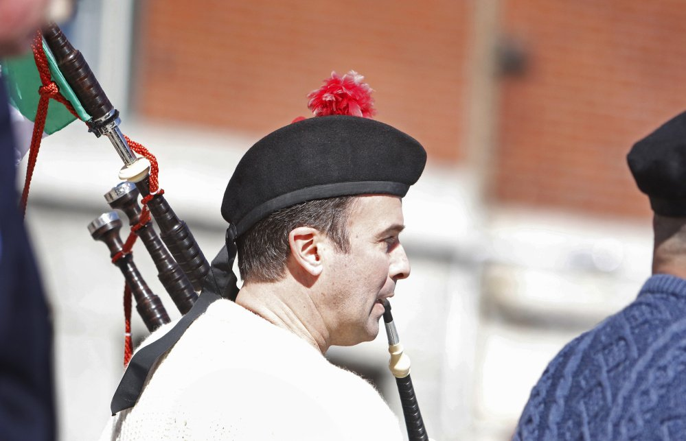 PORTLAND, ME - MARCH 13: Brian Young of Scarborough plays the bagpipes in the St. Patrick's Day parade in Portland. (Photo by Jill Brady/Staff Photographer)