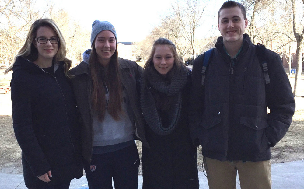 Formed this academic year, the Vegan Education & Empowerment Coalition student group on the UMaine campus includes, from left, Brooke Hoyle (co-president), Audrey Hoyle (co-president), Emily Roscoe (treasurer), and Tyler Cote (vice president).