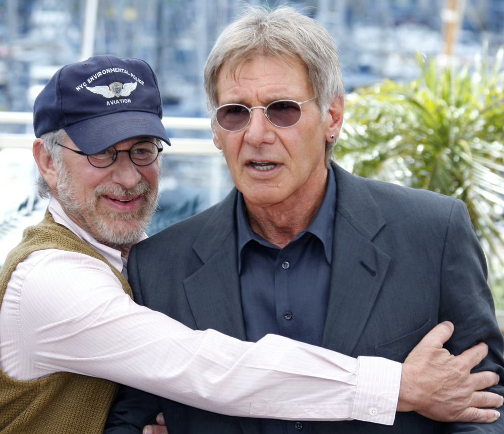 Steven Spielberg, left, with Harrison Ford at the 2008 Cannes Film Festival, always insisted Ford would not be replaced as Indiana Jones. Spielberg will direct Ford's reprise of the role.