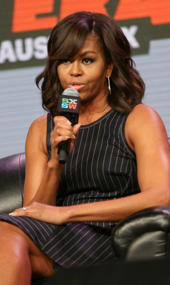 First lady Michelle Obama speaks at a panel discussion during South by Southwest at the Austin Convention Center on Wednesday in Austin, Texas.