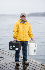 Don Gower, at Pinkham Point in Harpswell. Gower has been sampling water there for five years.