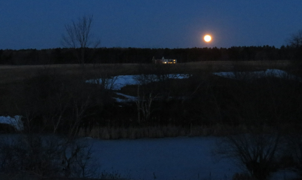 The snow moon is going, going and will soon be gone for many months, but Marc Mailhot's photo in Falmouth will serve as a reminder of winter's beauty.