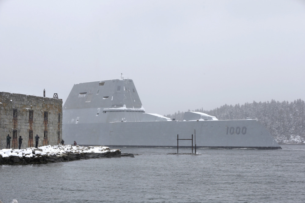 The USS Zumwalt passes Fort Popham at the mouth of the Kennebec River as it heads & USS Zumwalt starts final test run before Navy does inspection ...