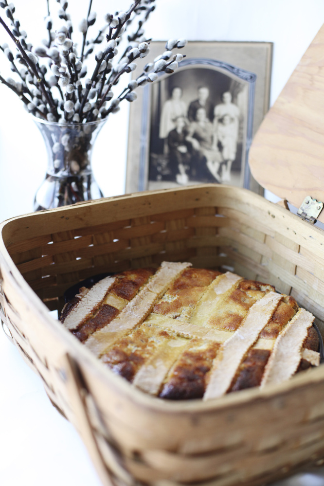 This Italian Wheat Pastiera is made from wheat berries and ricotta cheese. It's a traditional dessert served at Easter.