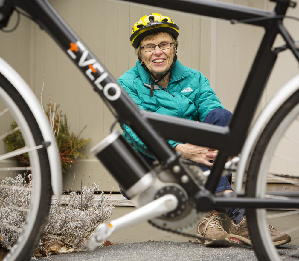 Lifelong cyclist Barbara Melchiskey, 80, of Camden, traded her regular bike two years ago for a motorized version when she developed hip problems.